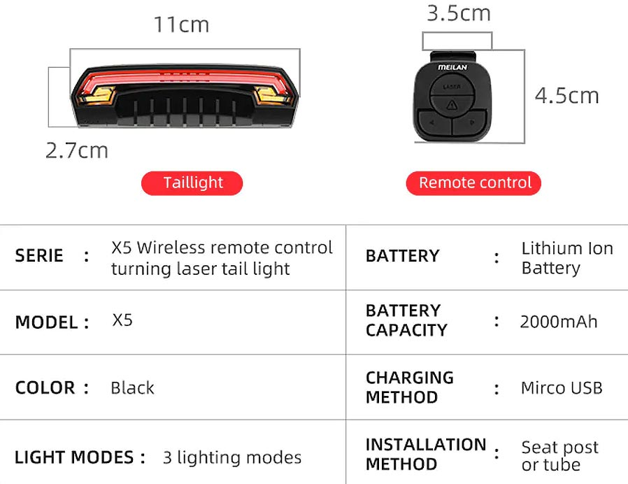 E Bike Wireless Laser Tail Light