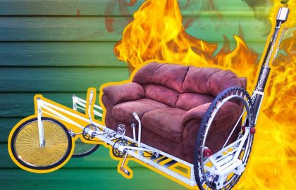 Amazing Flamethrower Sofa Bike!