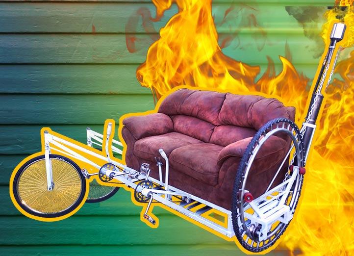 Amazing Flamethrower Sofa Bike!